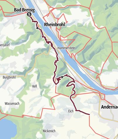 Karte / RheinBurgenWeg 03. Etappe Bad Breisig - Andernach (Nord-Süd)