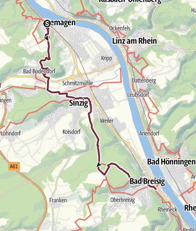 Karte / RheinBurgenWeg 02. Etappe Remagen - Bad Breisig (Nord-Süd)