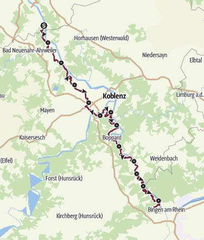 Karte / RheinBurgenWeg gesamt (Nord-Süd)