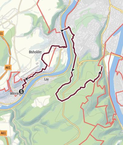Karte / RheinBurgenWeg 06. Etappe Winningen - Koblenz (Nord-Süd)