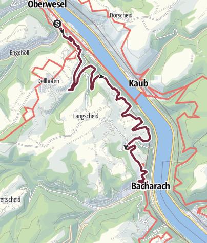 Karte / RheinBurgenWeg 11. Etappe Oberwesel - Bacharach (Nord-Süd)
