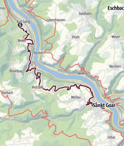 Karte / RheinBurgenWeg 09. Etappe Bad Salzig - St. Goar (Nord-Süd)