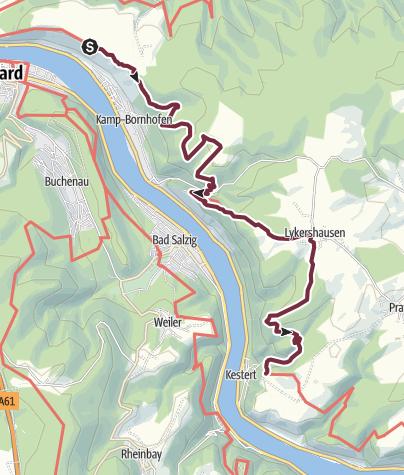 Karte / Rheinsteig 13. Etappe Kamp-Bornhofen - Kestert (Nord-Süd)