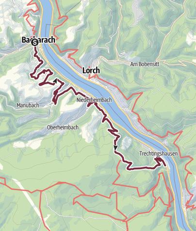 Map / RheinBurgenWeg 12. Etappe Bacharach - Trechtingshausen (Nord-Süd) - Umleitung wegen Unwetterschäden!