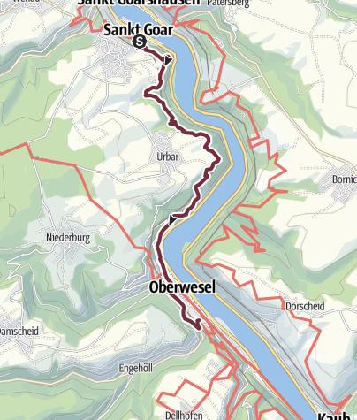 Map / RheinBurgenWeg 10. Etappe St. Goar - Oberwesel (Nord-Süd)