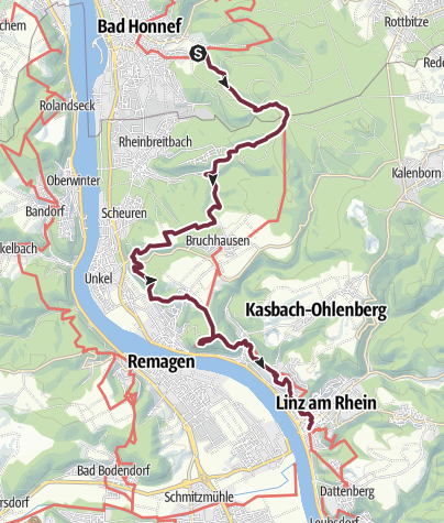 Karte / Rheinsteig 03. Etappe Bad Honnef - Linz (Nord-Süd)