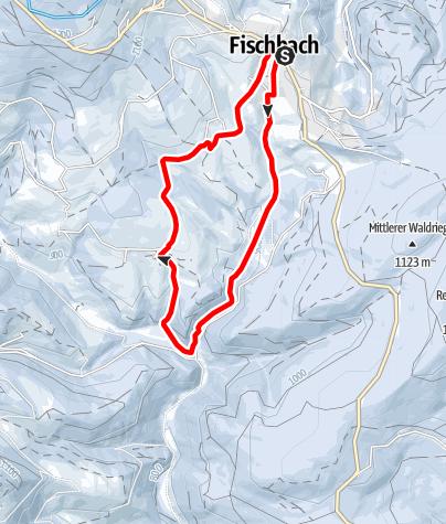 Karte / Dem Fischbach mit Schneeschuhen entlang