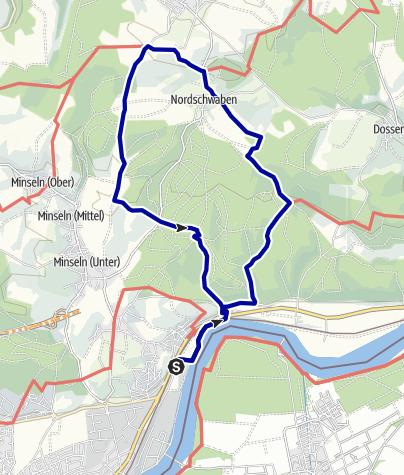 Karte / Vom Rhein auf die Höhen des Dinkelbergs