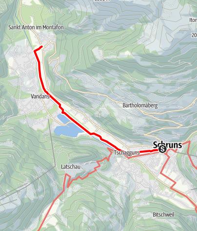 Karte / Montafoner Wassersinfonie - Spaziergang von Schruns nach St. Anton der Litz und Ill entlang