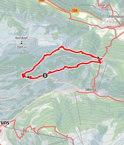 Karte / Höhenwanderung von Innerberg zum Kristberg