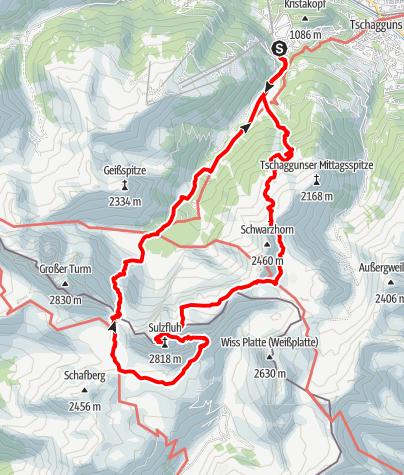 Karte / Rund um die Sulzfluh (2-Tage-Wanderung)
