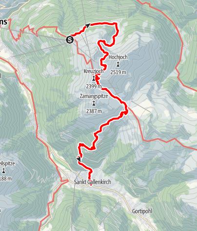 Kaart / Von Schruns Kapell übers Grasjoch nach St. Gallenkirch