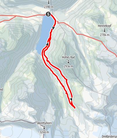 Karte / Vom Silvrettasee über den Sommerweg zur Wiesbadener Hütte und retour