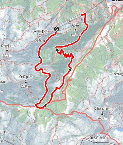 Karte / Gauertaler AlpkulTour - die Haupttour