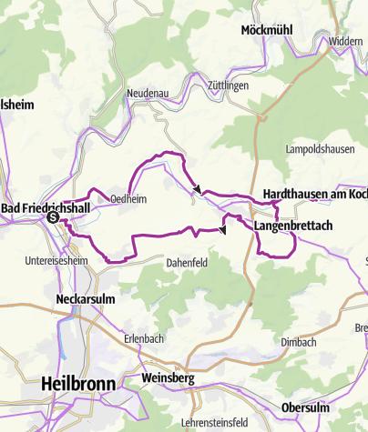 Karte / KJ2 Regiotour Kochertal - Radweg im Kochertal