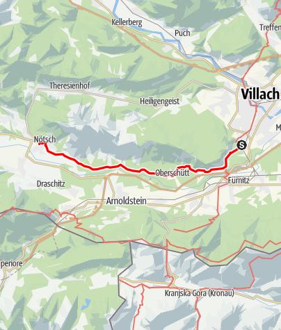 Karte / Rundtour Etappe 2 AAT: Warmbad Villach - Nötsch