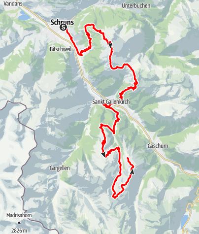 Karte / Montafon Totale Ultra: Länge 47 Kilometer, 4.200 Höhenmeter