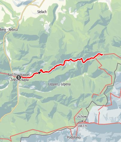 Karte /  Panoramaweg Südalpen - Alternativtour zu Etappe 14 und 15: Bad Eisenkappel- Persman Museum- Gh. Riepl - Luschaalm