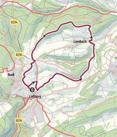 """Karte / Mit dem Zeichen """"Linde"""" nach Lombach"""