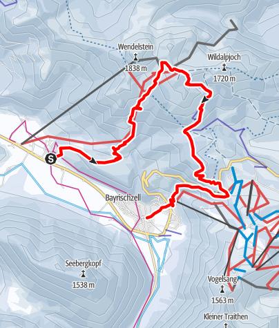 Karte / Anspruchsvolle Schneeschuhtour von Osterhofen zum Wendelstein und nach Bayrischzell