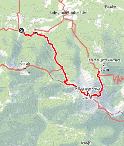 Karte / Etappe 03 NEU - Panoramaweg Südalpen: Baumgartnerhof - Mittagskogel - Bertahütte