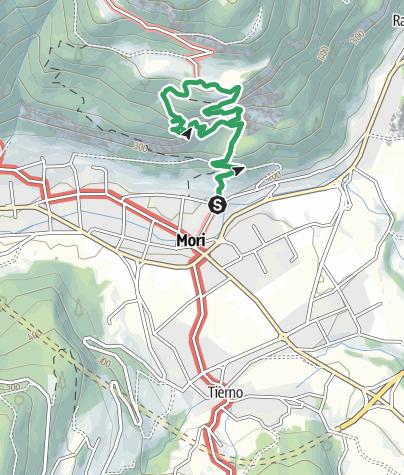 "Map / Via Ferrata ""O. Marangoni"" on Monte Albano - Mori"