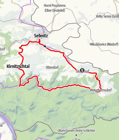 Karte / Mit dem Rad ums Dorf Hinterhermsdorf/Saupsdorf