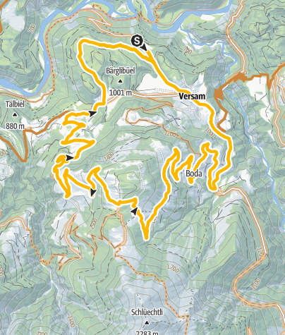 Karte / E-Mountainbiketour Versam - Arezen - Calörtsch - Brün - Versam