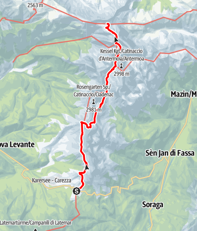 Map / Dolomites UNESCO Geotrail - Stage 3: from the Karer Pass to the Tierser Alpl Hut