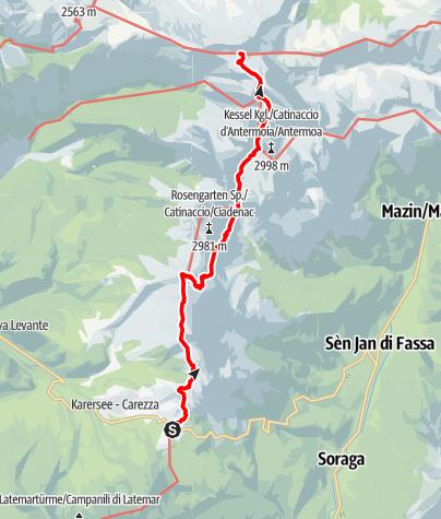 Kaart / Dolomites UNESCO Geotrail - 3. Etappe: Vom Karerpass zur Tierser-Alpl-Hütte