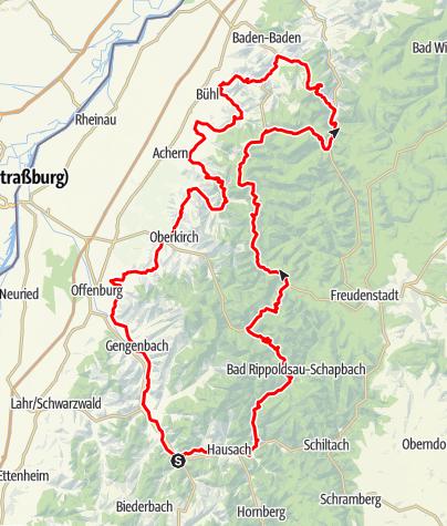 Karte / Der Doppelklassiker: Badische Weinstraße und Schwarzwaldhochstraße