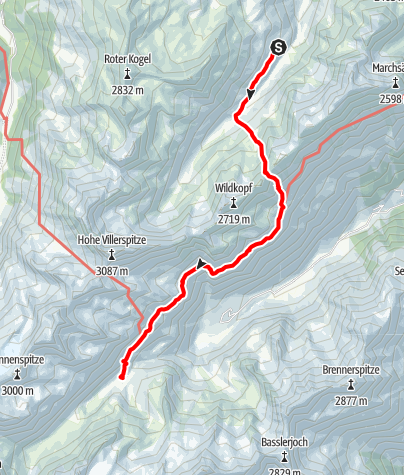Kaart / Übergang Potsdamer Hütte zur Franz Senn Hütte