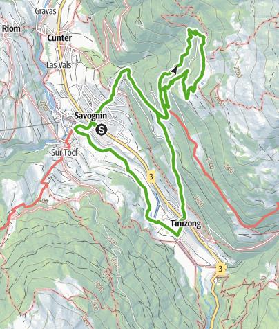 Karte / Wanderung zur Alp Tussagn