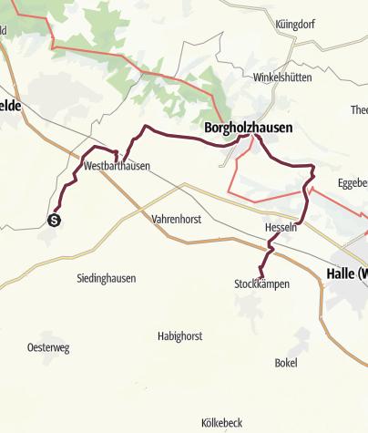 Karte / BahnRadRoute Teuto-Senne: Variante über Borgholzhausen