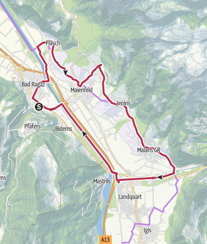 Karte / Kulinarik-Tour Bündner Herrschaft (E-Bike)