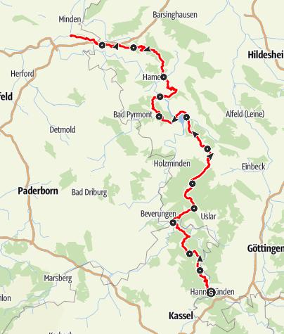 Karte / Weserbergland-Weg - Qualitätswanderweg durch das Weserbergland