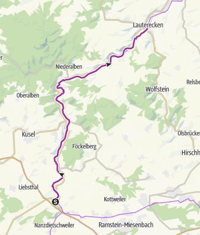 """Karte / Familientour """"Störche, Kirchen und Draisinen"""" Glan-Blies-Radweg"""