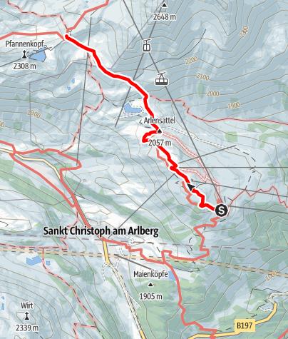 Karte / Zustieg Ulmer Hütte von Bergstation Galzig
