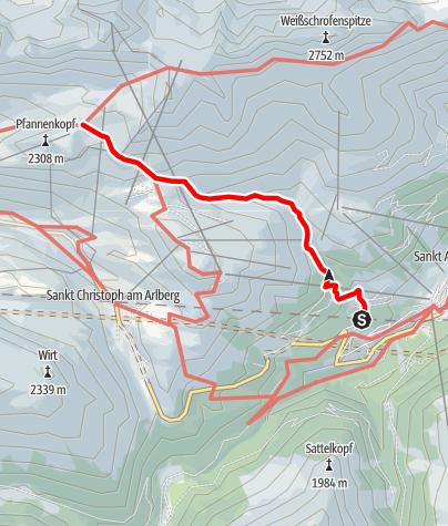 Karte / Zustieg Ulmer Hütte von St. Anton