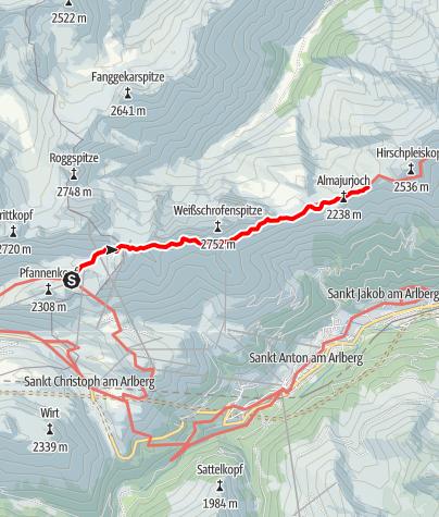 Karte / Übergang Ulmer Hütte zur Leutkircher Hütte
