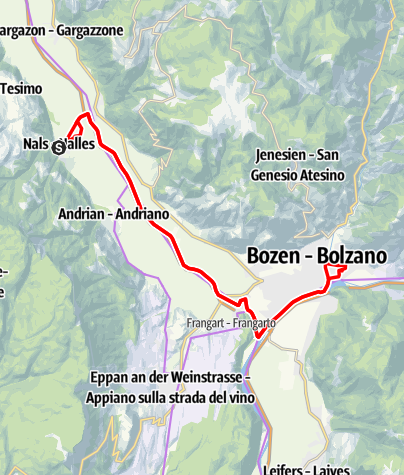 Map / Bike tour to Bolzano