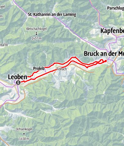 Karte / Leoben - Bruck und z'ruck
