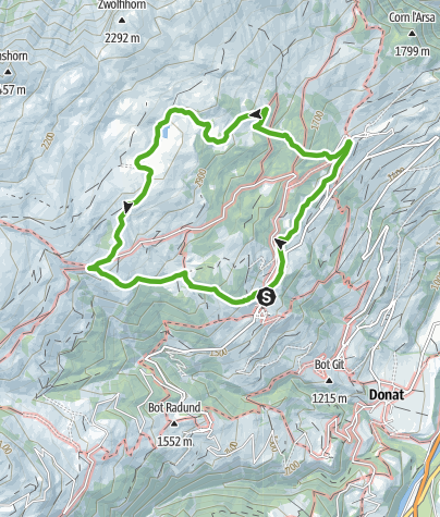 Cartina / Prati di montagna Schams nel Parco Naturale Beverin