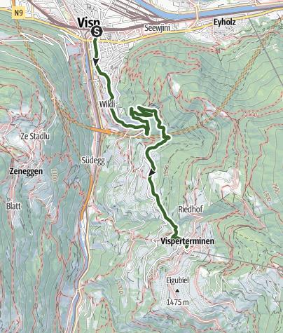 Karte / Reblehrpfad Heidaweg von Visperterminen