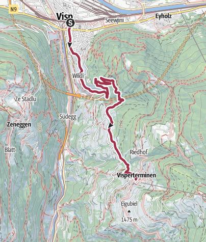Carte / Heidaweg à Visperterminen