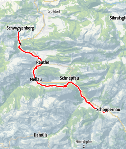 Karte / Schwarzenberg | Schwarzenberg - Schoppernau
