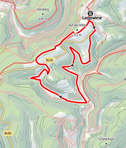 Karte / Über Grenzen hinweg - Verschlungene Wege und fürstliche Wälder, Start in Winterberg-Langewiese