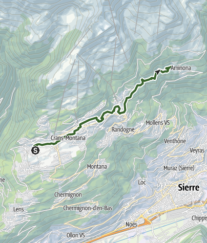 Map / Centenary walk on the high plateau in Crans-Montana