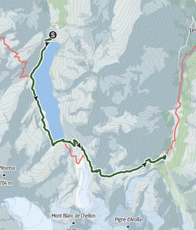 Map / Tour du Val d'Hérens: Grande Dixence dam to Arolla (stage 2)