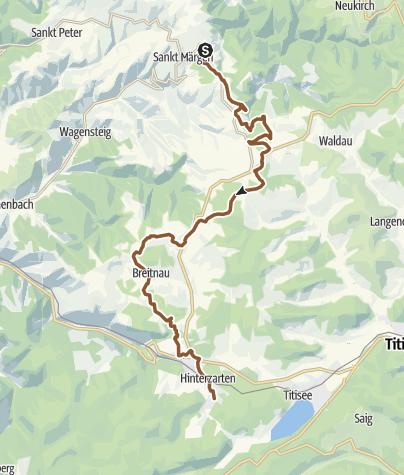 Karte / Zubringerstrecke Gipfeltrail - St. Märgen - Breitnau - Hinterzarten